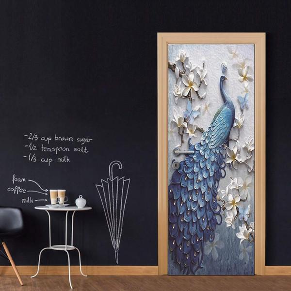 3D Vinyle Porte Murale En Relief Paon Autocollant Mural Decal Art Décor Amovible Murale Affiche Scène Fenêtre Porte Papier Peint