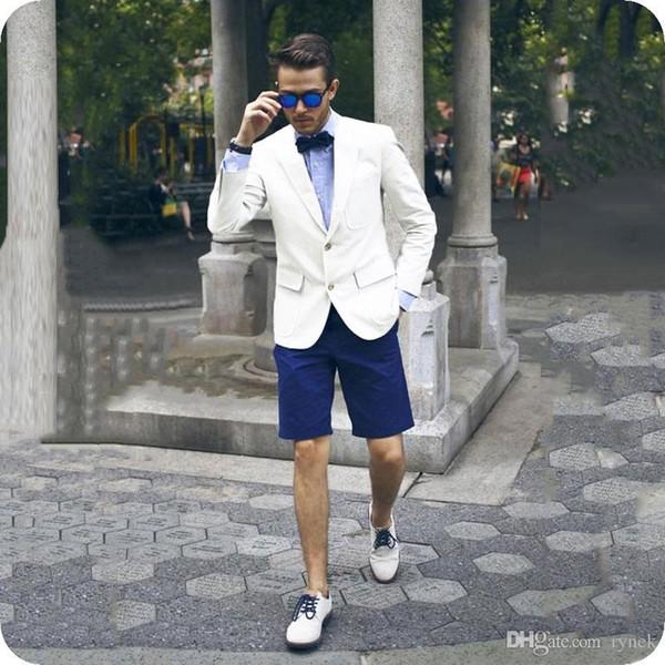 Повседневная лето белые мужчины костюмы жених смокинги две кнопки 2шт жених костюмы человек блейзер синие короткие брюки Slim Fit костюм Homme выпускного вечера партии