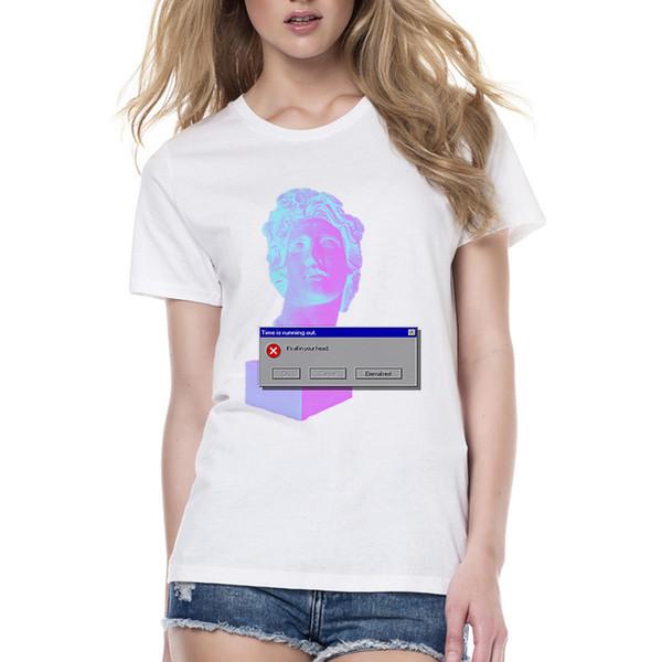 Neue Ankunfts-Frauen Vaporwave ehrfürchtiges T-Shirt Sommer-Kurzschluss-Hülsen-Oansatz Harajuku Art- und Weiset-shirt Damen kühlen Streetwear Swag ab