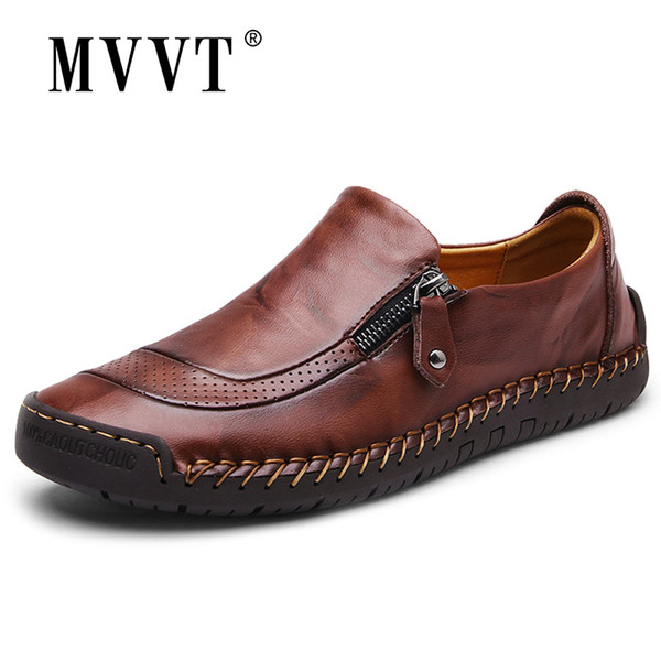 Classic Comfortable Casual Loafers Quality Split Leather Men Flats Hot Sale Moccasins Shoes Plus Size Y190702
