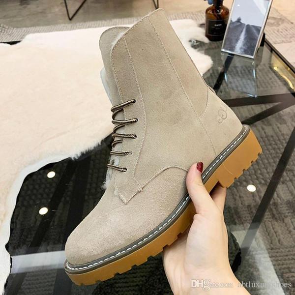 Womens Shoes Fashion Snow Boots Faux Suede Ankle Plus Velvet Classic Warm Fur Plush Lace-Up High Top Boots Shoes Zapatos de hombre Winter