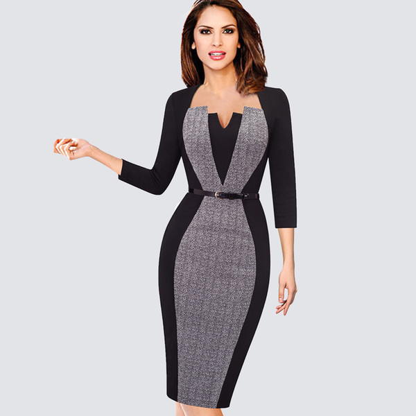 Para mujer Elegante Ilusión Óptica Patchwork Contraste Vintage Primavera Otoño Cinturón Trabajo Oficina Business Party Vestido ajustado