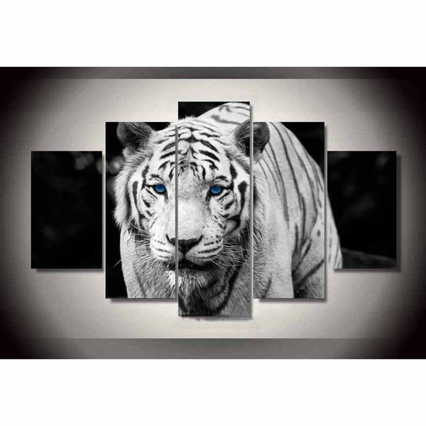 White Tiger ,5 Pieces Home Decor HD Printed Modern Art Painting on Canvas (Unframed/Framed)