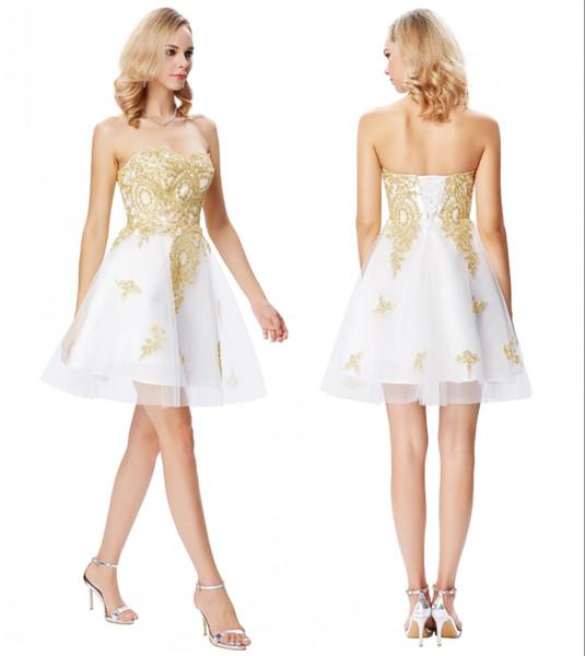 Grace Karin Cocktail Curto Branco homecoming Vestidos Querida Ouro Apliques Vestidos Formais Cocktail Jurk Tulle Coctail Vestidos