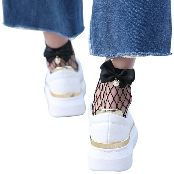 Solid Women Ruffle Fishnet Ankle High Socks Mesh Lace Fish Net Short Socks with Bow in Behind Two Color dropshipping 30AT3