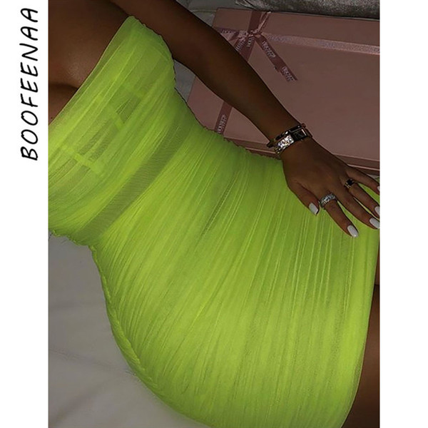 1183f041ac3f BOOFEENAA Sheer Mesh Neon Green Ruched Bodycon Dress Bandage Mini Dresses  Summer Party Night Club Womens
