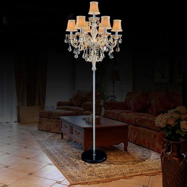 7 lamba Avrupa Lüks Kristal zemin Lamba E14 mum kristal zemin avize ışık Dekoratif Oturma Odası zemin ışık