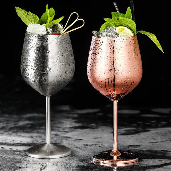 304 Stainless Steel Red Wine Glass Silver Rose Gold Goblets Juice Drink Champagne Goblet Party Barware Kitchen Tools 500ml Q190525