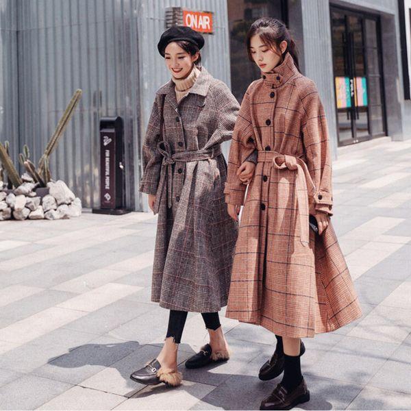 Top-Qualität Plaid Langwollmantel Herbst Winter Mäntel Frauen Einreiher Outwear Abrigos Mujer Invierno 2019 Windbreaker f1535