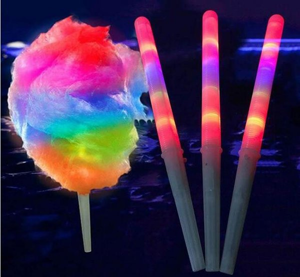 LED Cotton Candy Glow Glowing Sticks Light Up Flashing Cone Fairy Floss Stick Lamp Home Party Decoration fashion LED lamp