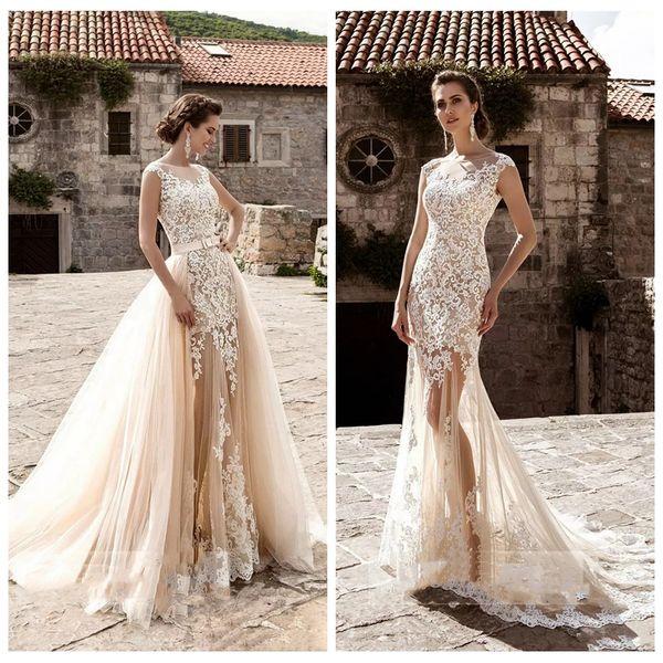 Vestidos de novia de sirena pura Apliques de encaje con tren desmontable Vestidos de novia largos 2019 Falda de tul Vestidos largos de jardín de Mariee