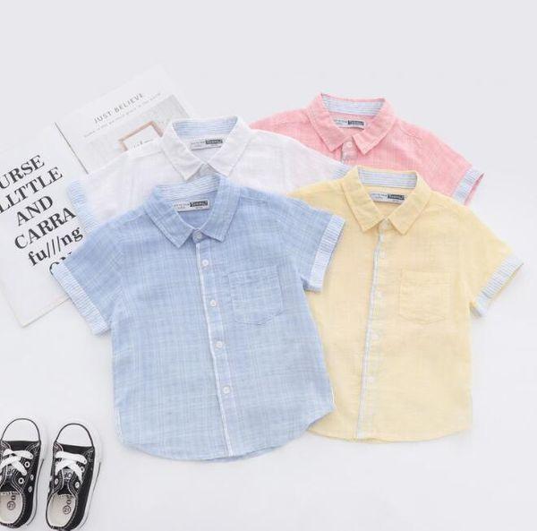 2019 été nouveaux garçons chemise enfants rayures revers manches courtes décontracté tops enfants unique chemise respirant chemise garçon vêtements BY1054