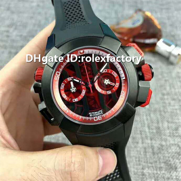 Top di lusso 47 millimetri orologio svizzero Cronografo Automatico cristallo di zaffiro Cinturino in gomma Cassa in ceramica Pin fibbia Solid Fondello Mens Watch