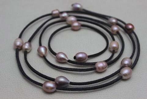 Neue Ankunft Lederperle dunkel lila Leder Schmuck natürliche lila Süßwasser Perlenkette, 10x12mm