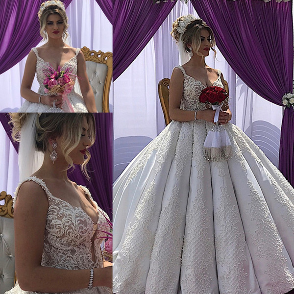 Increíbles apliques de cuentas Corte tren Vestidos de novia de princesa 2020 Sweetheart Spaghetti Dubai Boho árabe Vestidos de novia