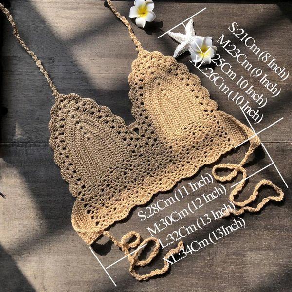 Mujeres calientes Halter Crochet Mezclas de algodón Bikini Bralette Crop Top Bra traje de baño para el verano DO2