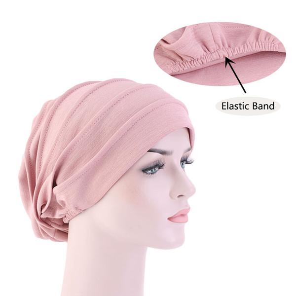 Morbido cotone delle donne Stretch sonno Cappello Chemo sonno Beanie Turbante Headwear Cap Wrap Responsabile per la perdita dei capelli cancro Accessori