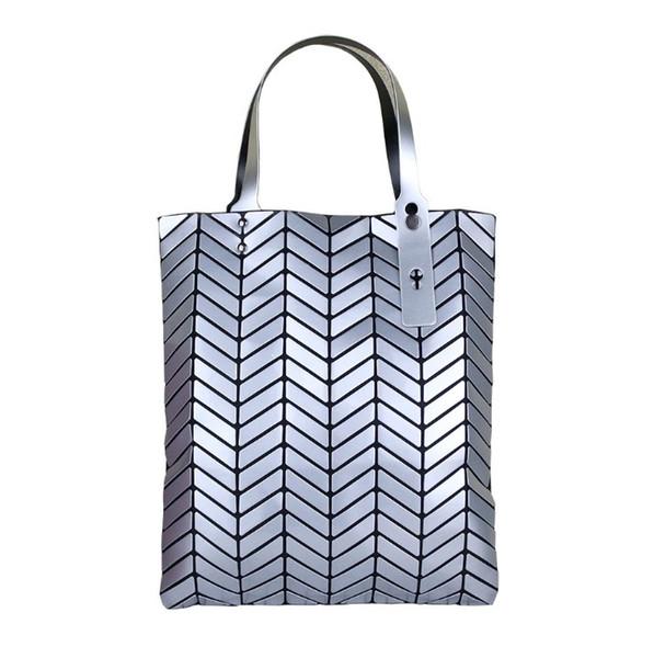 New Women handbag Geometry Sequins Mirror Plain Folding Bags casual Totes famous Bag Free Shipping 34*40cm