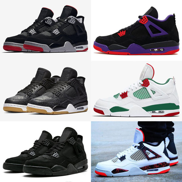 2019 New Arrival Bred Pale Citron Tattoo 4 IV 4s men Basketball Shoes Pizzeria Singles Day Royalty Black cat mens trainers Sports Sneakers