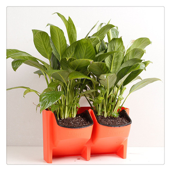 Stackable 2 Pocket Vertical Wall Planter Self Watering Hanging Garden Flower Pot Planter for Indoor Outdoor Decoration