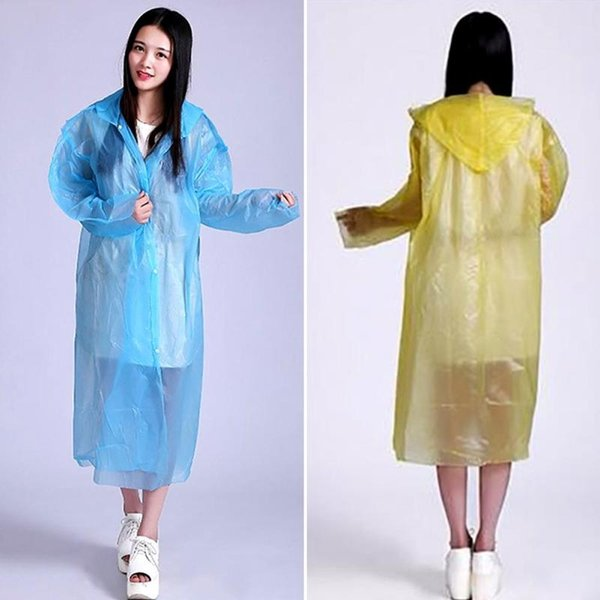 Fashion Colorful Women men non-toxic PE Transparent Raincoat Poncho Women Raincoat Disposable Rain Coat For Adult L20 #219874