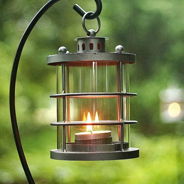 Cylindric Country Style Rustic Metal Lantern Retro Kerosene Lamp Shape Candle Holder Hanging Storm Lantern for Outdoor Black White