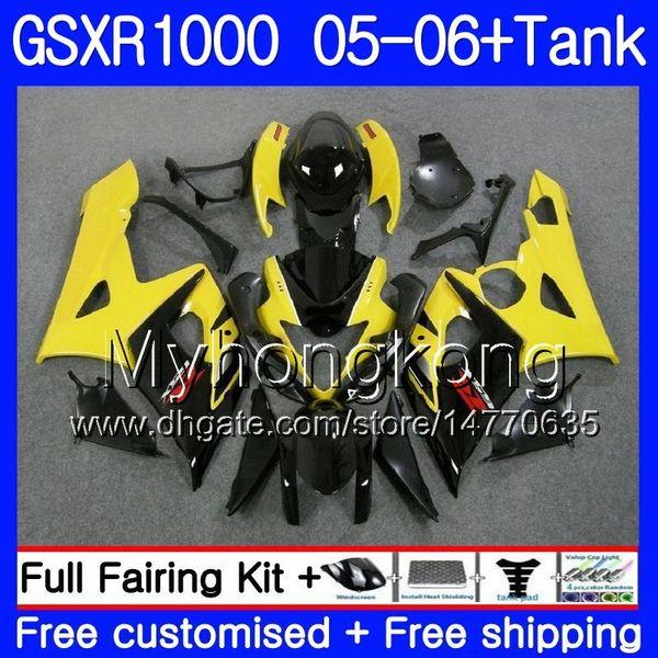 Kit + tanque para SUZUKI GSXR-1000 1000CC GSXR 1000 05 06 Cuerpo 300HM.17 GSX-R1000 1000 CC Amarillo negro GSX R1000 K5 GSXR1000 2005 2006 Carenado