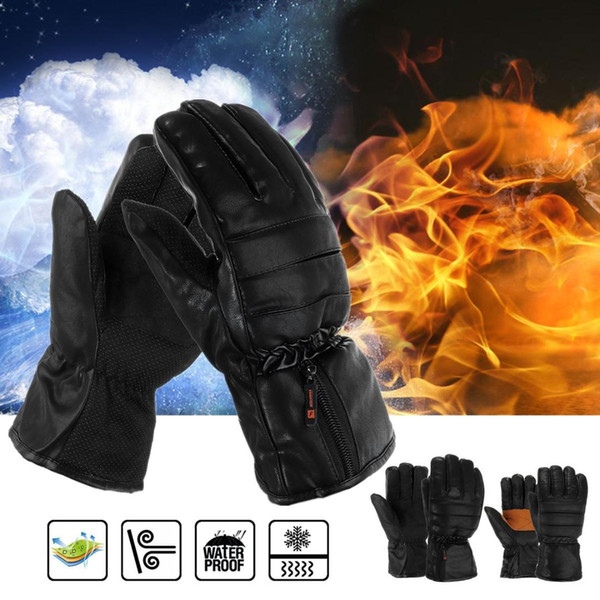 Rechargeable Electric Heated Gloves Winter Warmer With Li-ion Battery PU Leather+Non-slip Cloth+Plush Motorcycle Bicycle Gloves