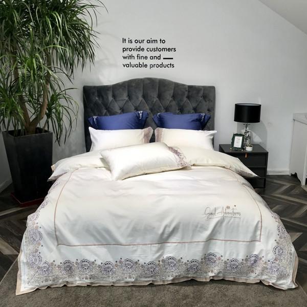 2018 European Milk White Egyptian Cotton Bedlinens Embroidery 4/6pcs Queen King Size Duvet Cover Set Cushion Covers Pillowcases