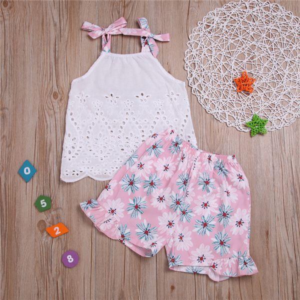 Verão menina do bebê crianças roupas set Menina sem mangas rendas Top + Impresso shorts de duas peças define crianças roupas de grife meninas JY600