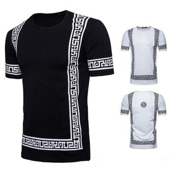 Luxury Pattern Design Men T shirts Summer Homme Cotton Crew Neck Tees Short Sleeved Black White Color Clothes