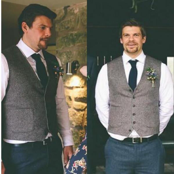 Wool Groom Vests 2019 Vintage Pockets Men's Suit Vests Slim Fit Men's Dress Vests Wedding Dresses Waistcoat Tweed Herringbone