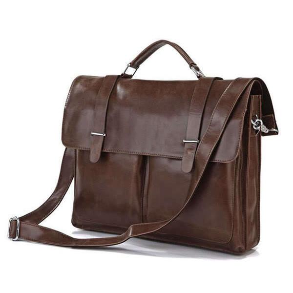 Wholesale- Luxury Genuine Leather Men's Briefcases Office Bag Messenger Bag Leather Shoulder Bag Men Laptop Briefcase Handbag Free Shipping