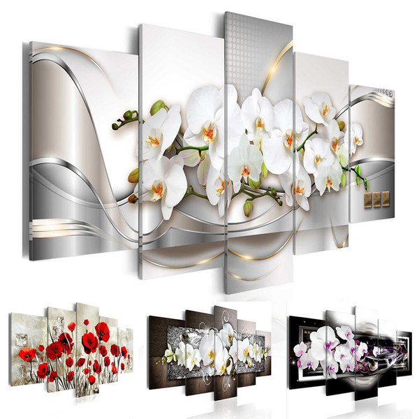 best selling Modern Prints Orchid Flowers Oil Painting on Canvas Art Flowers Wall Pictures for Living Room and Bedroom (No Frame)