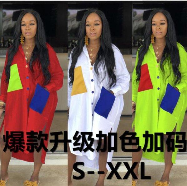 Горячие продажи женское платье Большой фирменный рубашка лоскутное карман платья летние платья 3 цвета фабрики оптом