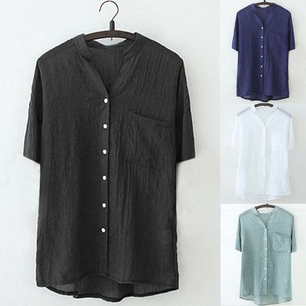 Blusa sólida Manga Casual Solto Mulheres Gola Sólida Camisa de Manga Curta Casual Blusa Botão Para Baixo Elegante Coreano Roupas # G