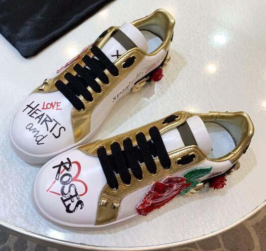 Дизайнер Женщины Повседневная обувь Портофино сердца розы расплавить кроссовки роскошная платформа шнуровка повседневная кроссовки граффити Женская обувь с резиной 055