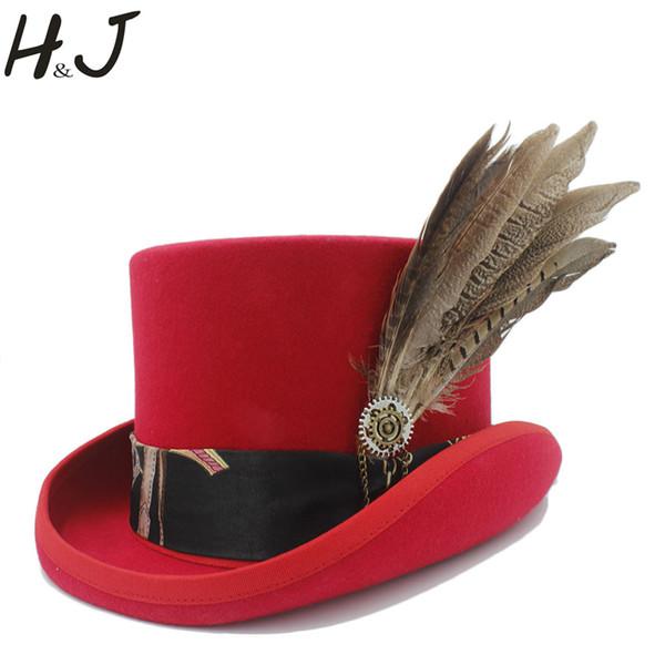 13.5CM Top Red Women Steampunk Top Hat / Handmade Men Leather Wool Fedoras Hat / Cylinder Hat/ Chimne Cap