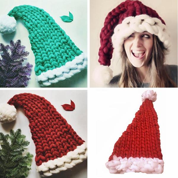 Fashion Parent-Child Knit Christmas Hats Cute Soft Pompon Santa Claus Hat Xmas Decorations Long Tail Beanies Cap TTA1804
