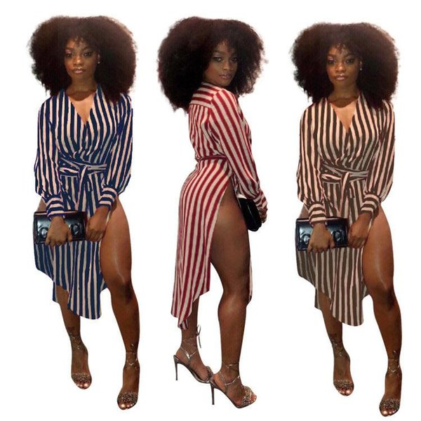 Vertical Stripe Asymmetrical Sexy Dress Women Deep V Neck Long Sleeve Sashes Dress High Side Split Party Dresses