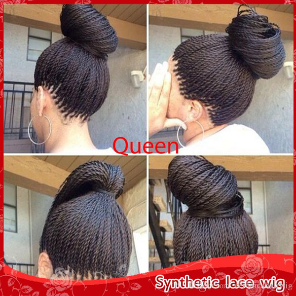 Top Quality High Density Braided Lace Front Wigs Box Synthetic Fiber Wigs Thick Full Hand Twist Synthetic Hair Micro Havana Twist Wigs