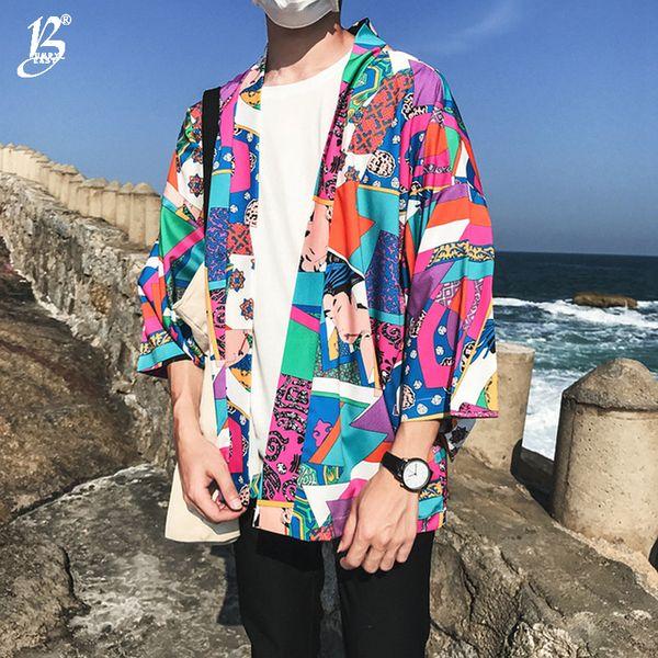 Bumpybeast Full Printed Japanese Style Kimono Jacket Men 2018 Summer Three Quarter Sleeve Men's Kimono Jackets