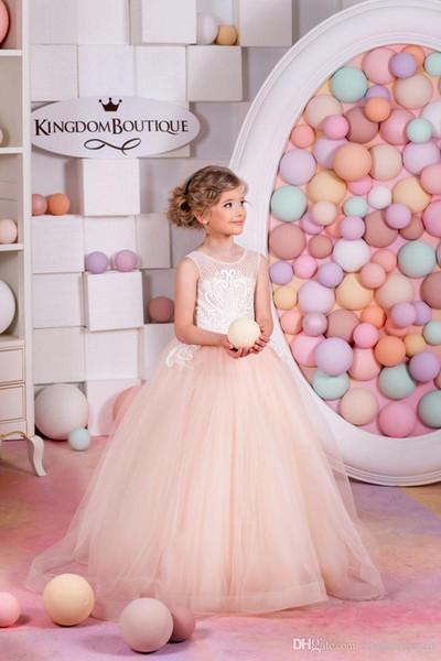 2019 New Blush Little Girls Pageant Dresses Child Detachable Train Ball Gown Kids Flower Girl Dresses for Weddings