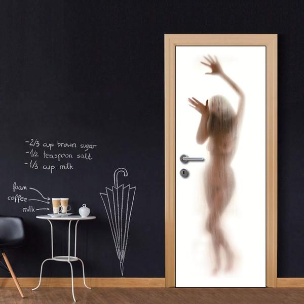 Wholesales Custom Door Mural Sexy Shower Lady door decals decorations for Kid's Bedroom Living Room wallpapers Stickers Decal