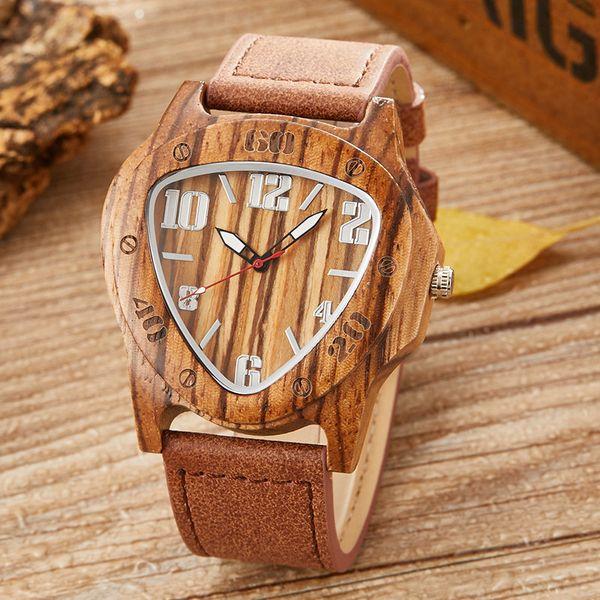 Orologio da uomo in legno con triangolo rovesciato creativo da uomo. Orologio da uomo. Orologio da polso in legno di bambù