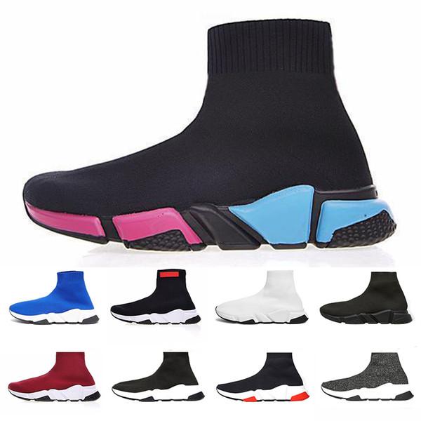 2019 Çorap Ayakkabı Kırmızı Tasarımcı Sneaker Siyah Erkek Kadın Nefes Rahat Shoese Moda Koşuyoruz Ayakkabı Erkekler Işık Spor Sneake