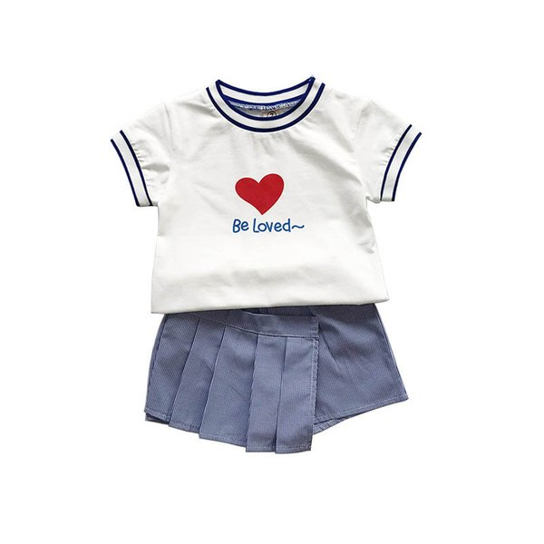 Novas meninas ternos crianças roupas moda crianças roupas de grife meninas roupas de algodão de manga curta t shirt + saia calças shorts conjuntos de crianças A7091