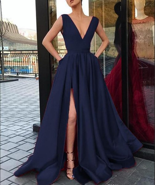 Dark Navy Prom Dresses 2019 With Slits Deep V Neck Satin Long Party Dress For Graduation Evening Ceremony Dresses New Special Occasion Gown