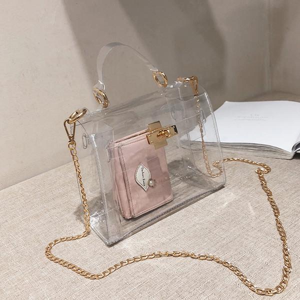 ПВХ Clear Jelly сумка для женщин 2019 Роскошные сумки Женские сумки конструктора Transparent Кошельки и сумки Crossbody сумка мешок главный T191021