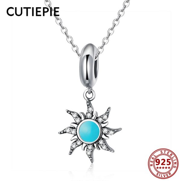CUTIEPIE Genuine Real 925 Sterling Silver Blue Sun Shape Pendant Necklace for Women Trendy Wedding Exquisite Silver Jewelry Gift